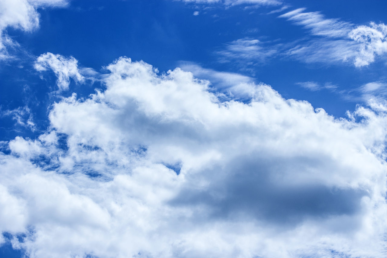 blue sky with cloud Backgrounds Beauty In Nature Blue Cloud - Sky Cloudscape Day Full Frame Heaven Low Angle View Nature No People Outdoors Scenics Sky Sky Only Tranquil Scene Tranquility