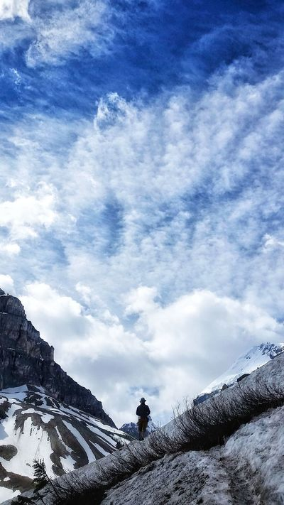 Cloud - Sky Sky One Person One Man Only Outdoors Snow Beauty In Nature Men Nature Alberta Canada HikeLife Banff National Park  Hike Trail Beauty In Nature Mountain View Landscape Snow Covered Hiking, Mountains, Adventure Hiking Adventure Hiking Mountains