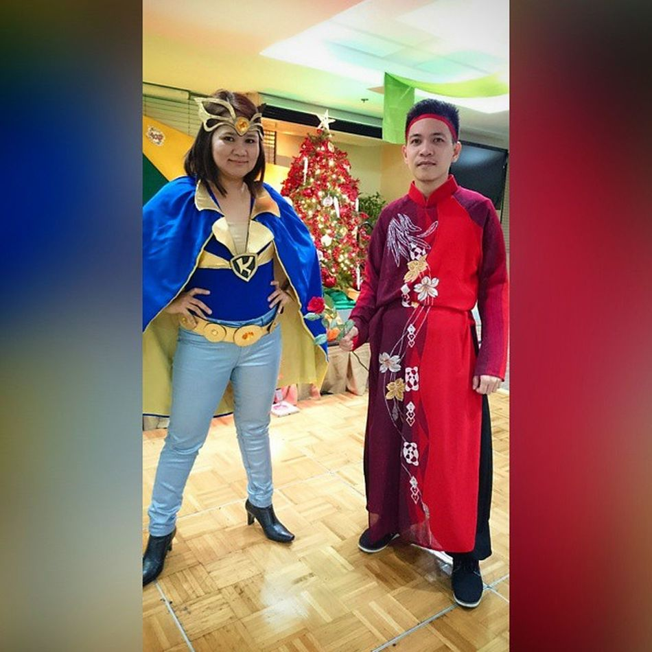 Shrim Christmas party goes Cosplay ! 😀😁😂 . . . With Ms fab @lhoreevalerio (Kristala ) x my version of ghost fighter Kurama