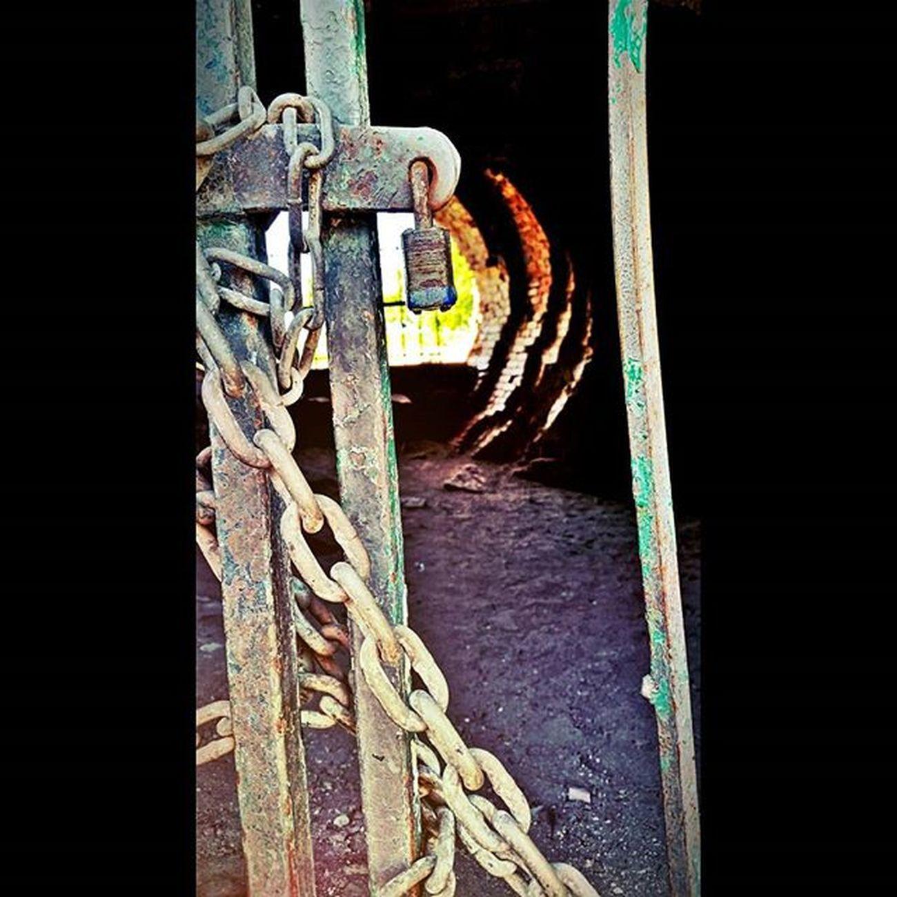 Siouxfalls Southdakota Fallspark Chains lockedout tunnel lightattheendofthetunnel noentry rustedgate gates picoftheday perspective beautyiseverywhere favoriteplaces behindcloseddoors pixlr seenthru