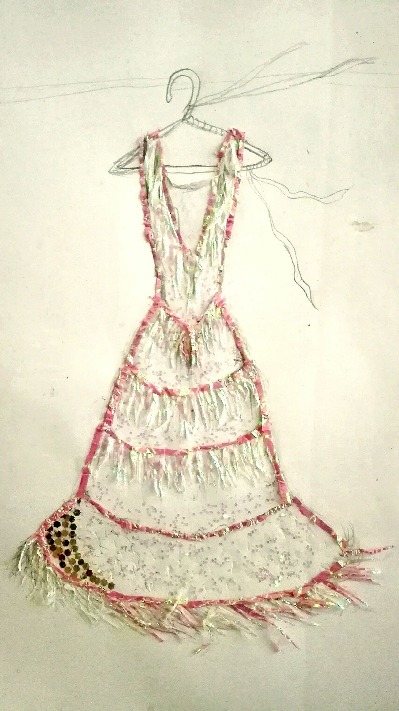 From Trash To Art Candy Wrapper Dress Pink Color Glitters No People