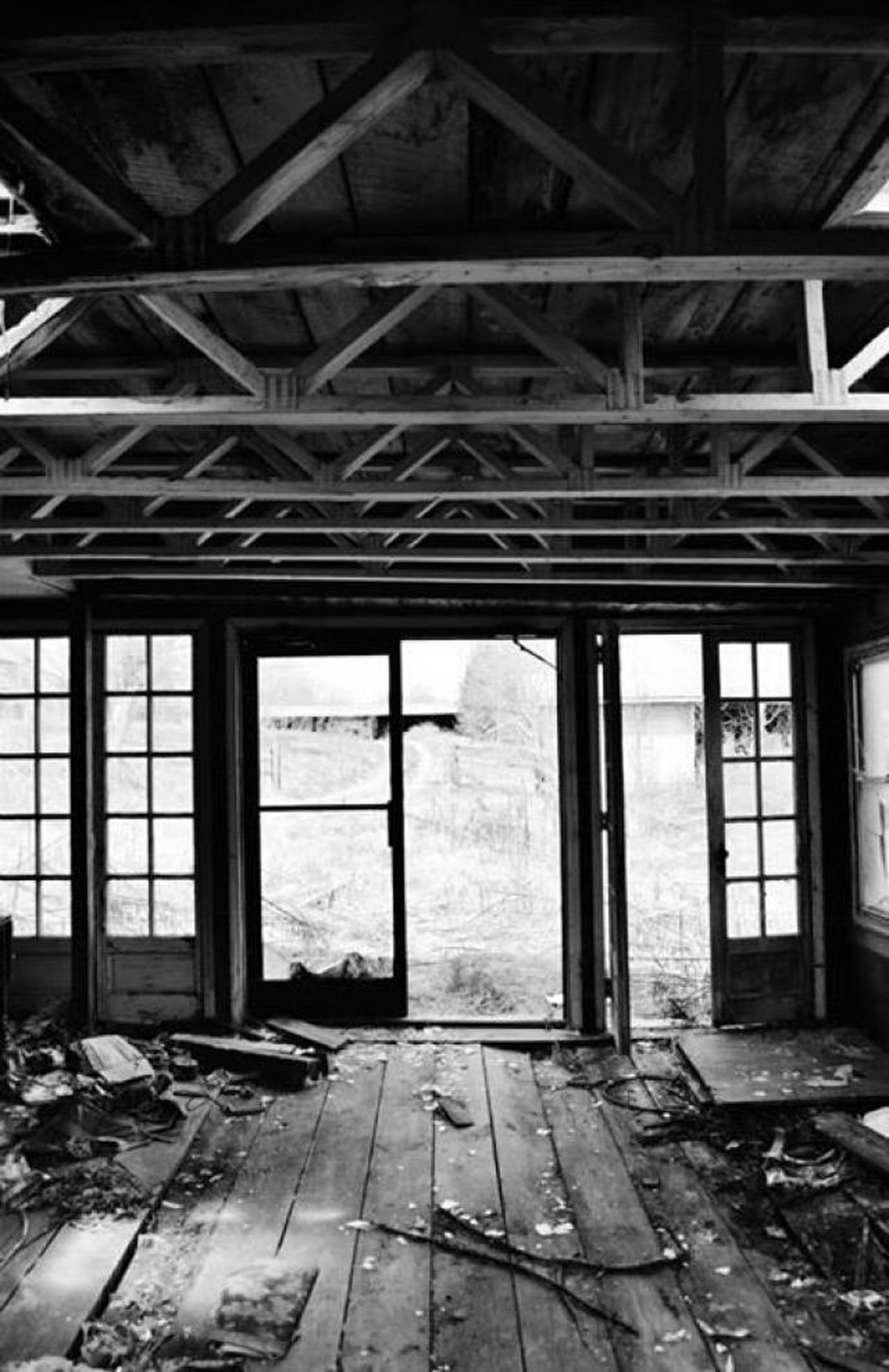 indoors, abandoned, window, built structure, architecture, damaged, obsolete, old, run-down, deterioration, wood - material, interior, ceiling, day, weathered, glass - material, broken, no people, bad condition, ruined