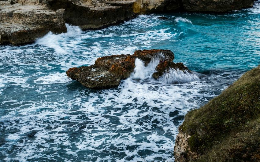 Water Nature No People Outdoors Motion Beauty In Nature Sea Seascape Seaside Cliff Cliffside Cliffs Wave Waves Waves Crashing Rocks Salento Holiday Travel Destinations Capture The Moment Rocks And Water Movement Seascape Photography Mediterranean  Scenics Finding New Frontiers