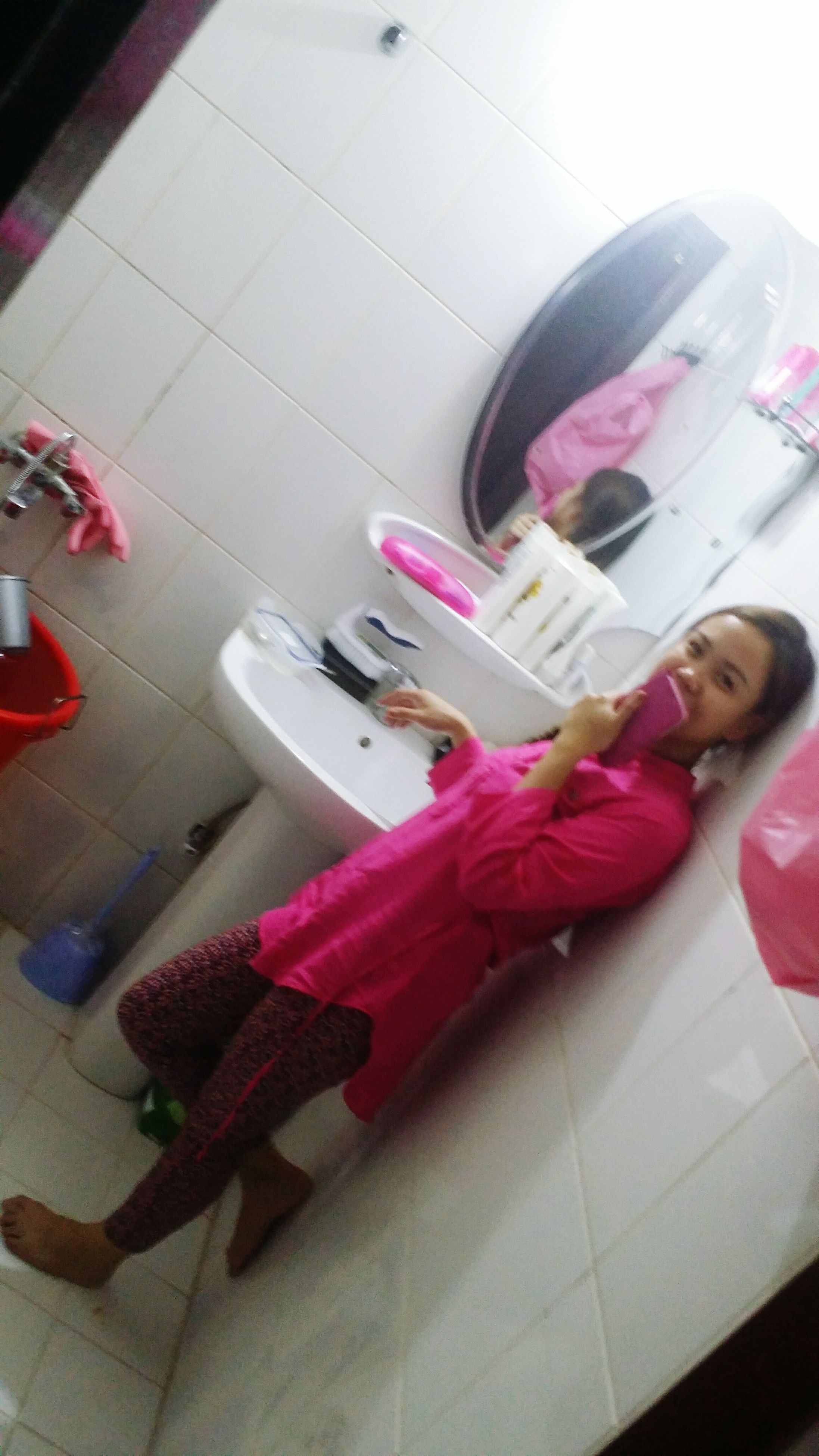 indoors, flooring, floor, pink color, multi colored, domestic life