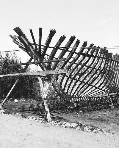 Handemade Ship Blackandwhite Alexandria Egypt Clear Sky Wood - Material Outdoors No People Sky