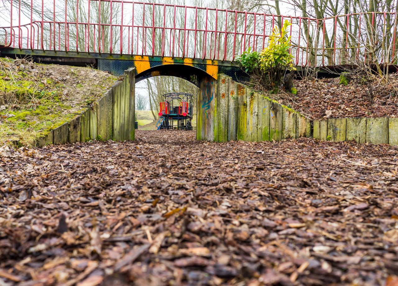 Rail Transportation Nature Built Structure Day No People Tree Outdoors Connection Bridge - Man Made Structure Architecture Play Playground Structure Red Playground Equipment Playgrounds Wood - Material Metal Playground Railings Climing Frame Leaves Graffiti Green Old WoodLand