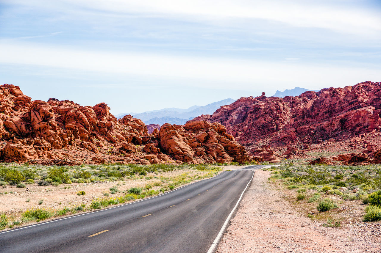 Desert Highwayphotography Leading Lines Nevada State Parks Roadway Sandstone Rocks Sky And Clouds