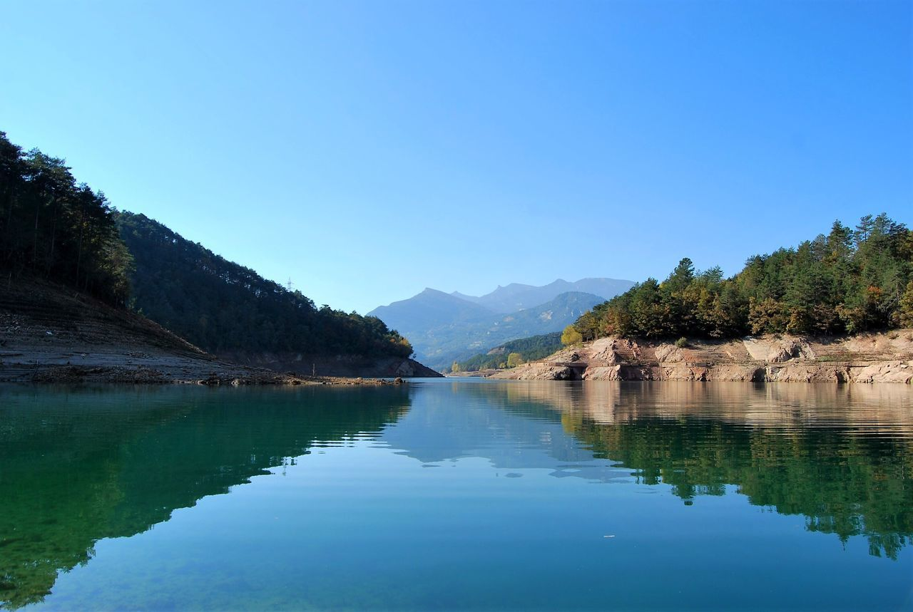 Mountain Clear Sky Blue Nature Water Reflection Tree Beauty In Nature Idyllic Scenics Tranquility Tranquil Scene Outdoors No People Landscape Day Sky Lakeshore EyeEm Nature Lover Nature Photography Beauty In Nature Nature_collection Nature EyeEm Gallery Eye4photography