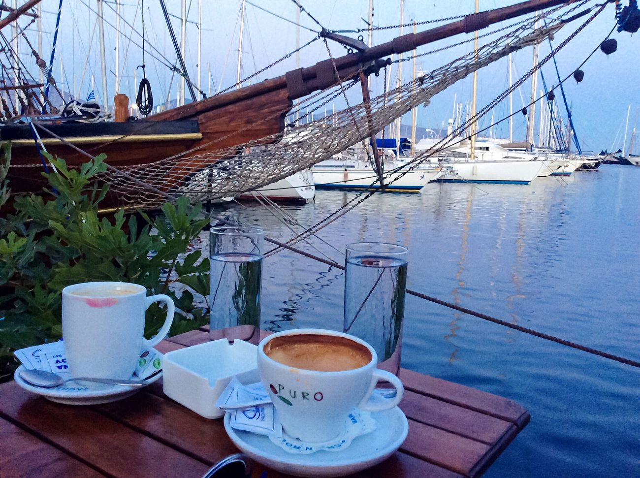 Back home, enjoying Summer in the city, in good company. Drinking Coffee By The Sea Sailboat Marina Dusk Hanging Out Calm Tranquility My Country In A Photo From My Point Of View I Love My City