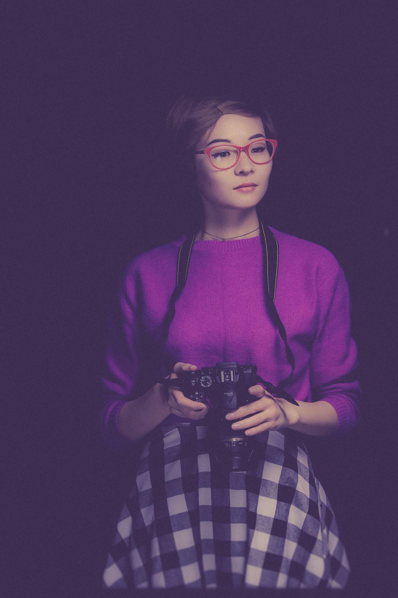 Photo is my soul Purple Only Women Pink Color Portrait Nikon Astana Girl Girl Power Redglasses Asian  Asian Girl