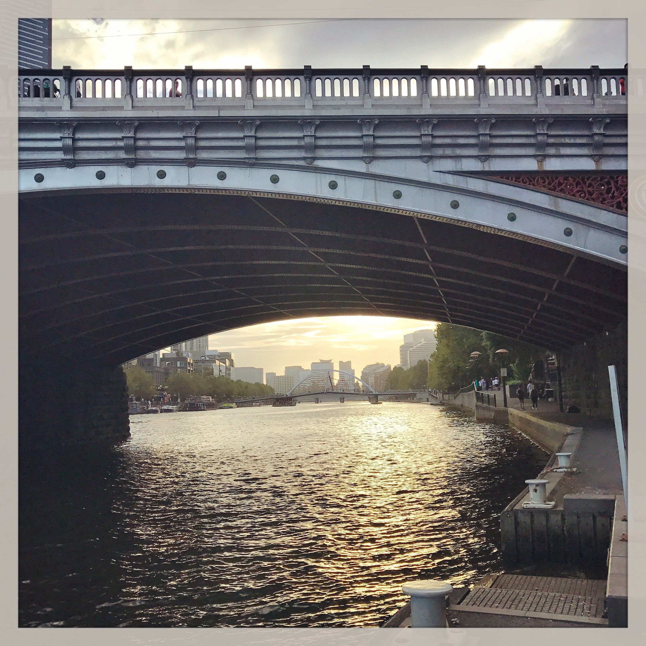 River under the bridge River Reflection Tranquility Glowing Water Bridge Citylife Melbourne Beautiful Sunset