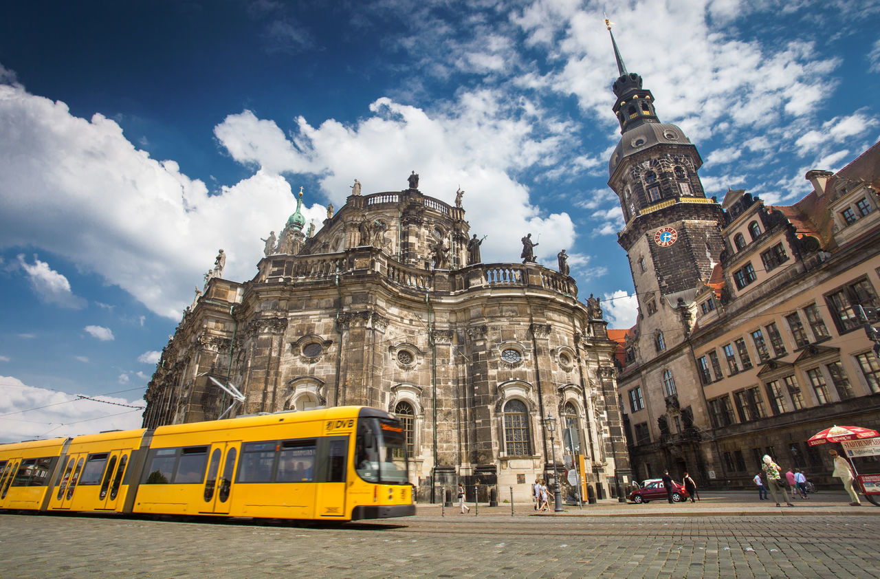 Cityscapes from Dresden, Germany. Architecture Building Center City Cityscape Clouds Dresden Europe Exterior Germany Historic Historical Landmark Old Public Transportation Sky Streetphotography Tourism Town Tram Travel Urban Vacation Yellow
