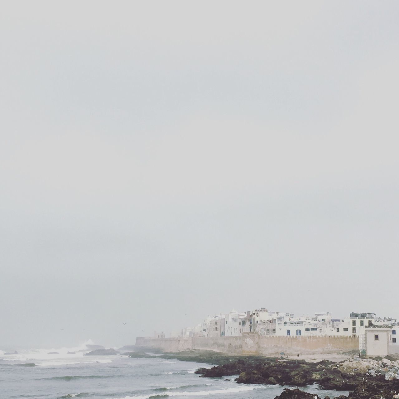 Essaouira Sea Walled City Wall Water Waterfront Sky Gray White Fortress Ramparts Essaouira Morocco Atlantic Ocean Waves Waves Crashing Rough Sea Portuguese Architecture