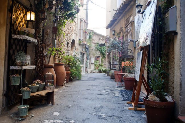 Abandoned Absence Architecture Building Exterior Built Structure Chair Day Front Or Back Yard House Leading Mougins Narrow Old Outdoors Perspective Plant Potted Plant Residential Structure Ruined Steps Street The Way Forward Wall