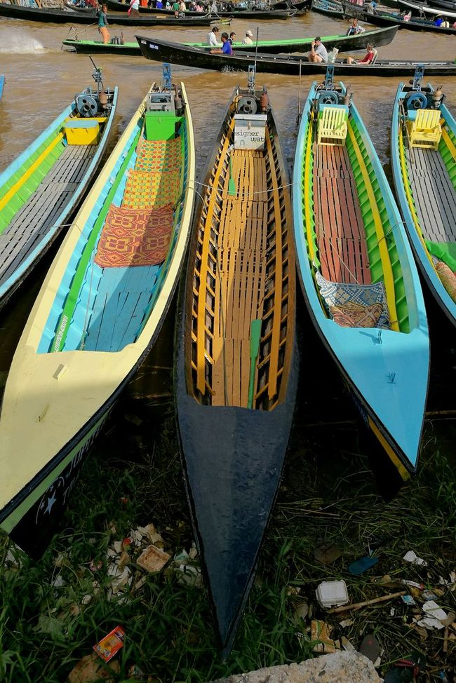 Boats Multi Colored Boats Lake Lines Canoes Parked