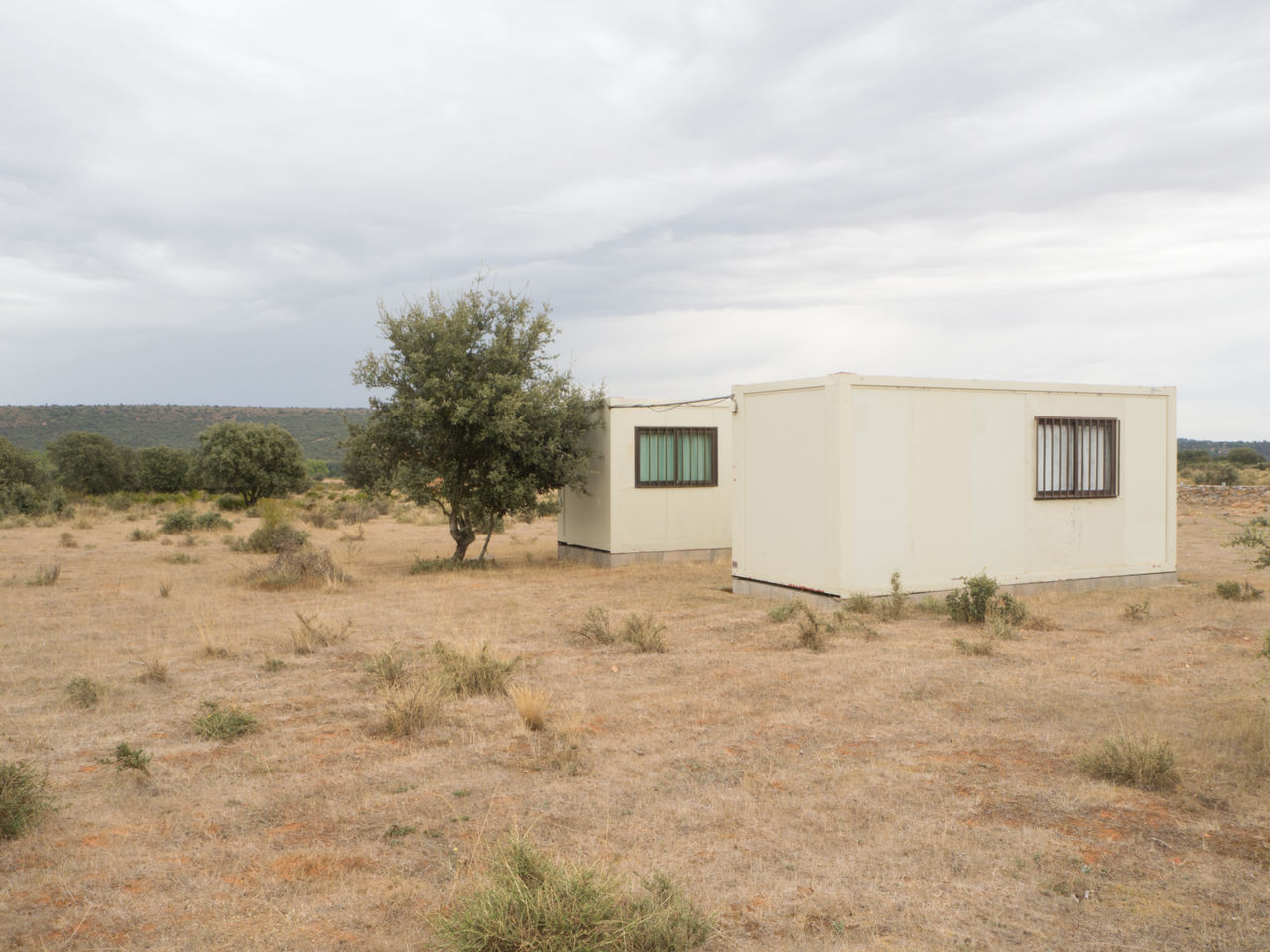 two lonely bungalows in the wild on the Way Of Saint James / Camino De Santiago Accomodation Arid Climate Arid Landscape Bungalow Bungalows Desert Way Of Saint James