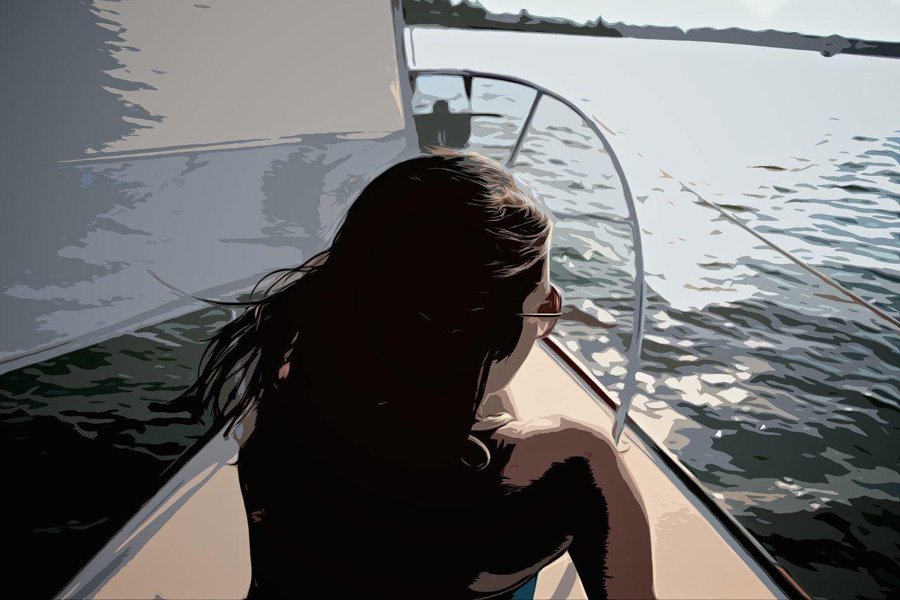 Boat Drawn Girl Girl On Boat Sailboat Sailing Summer Sunbathing Watercolor