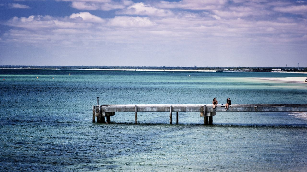 Finding a quiet place to catch up. Water Sea Outdoors Togetherness Two People Horizon Over Water Beauty In Nature Busselton Busselton Jetty Western Australia Jetty Jetty Structure People Remote Location Remote Place Together Friends Friendship Friendship ❤ Long Goodbye The Great Outdoors - 2017 EyeEm Awards