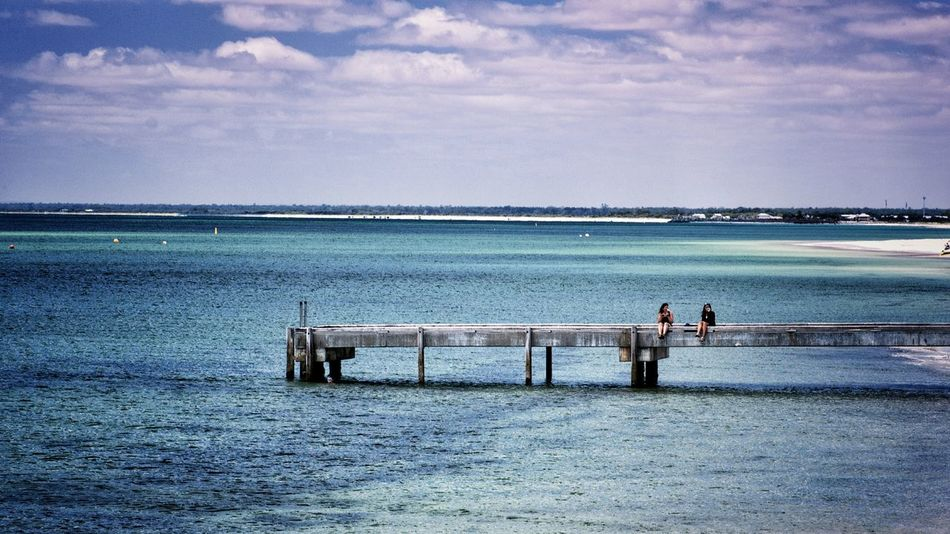 Finding a quiet place to catch up. Water Sea Outdoors Togetherness Two People Horizon Over Water Beauty In Nature Busselton Busselton Jetty Western Australia Jetty Jetty Structure People Remote Location Remote Place Together Friends Friendship Friendship ❤ Long Goodbye