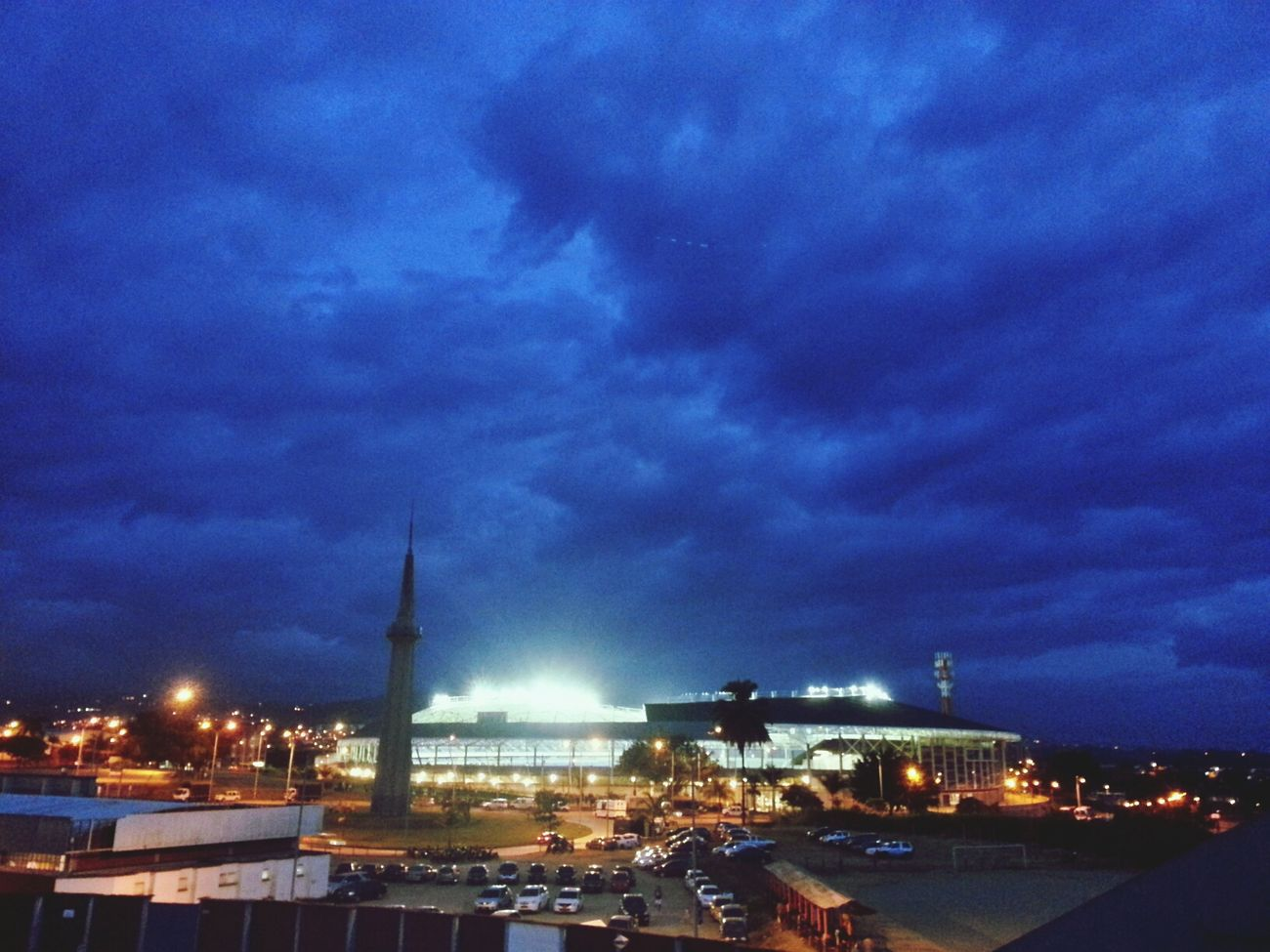 Futbol Stadium. Olympic Village. Big storm above in the sky. Stadium Sky And Clouds Pereira