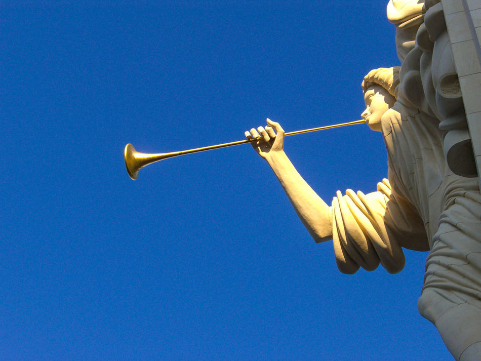 Angel Blue Clear Sky Copy Space Day Fort Worth Low Angle View One Person Outdoors People Sky Trumpet