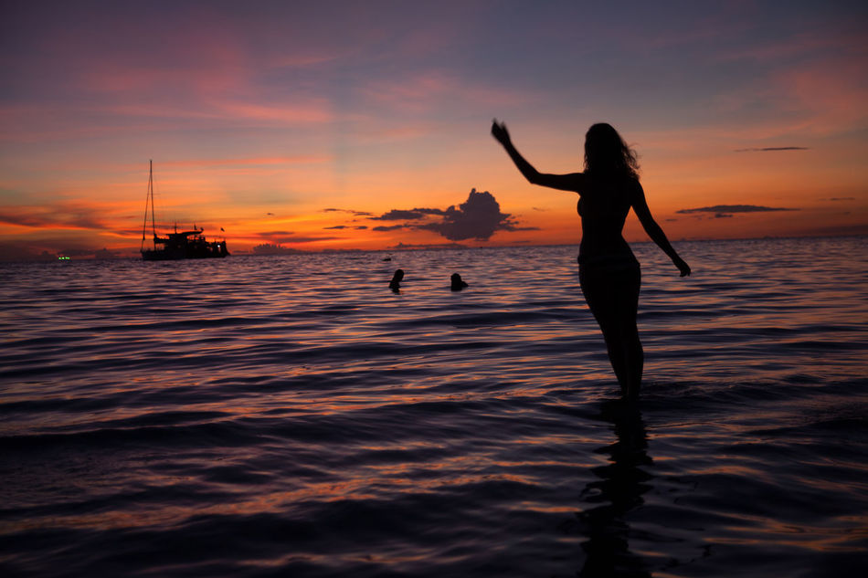 Beautiful stock photos of silhouette, Activity, Beach, Beauty In Nature, City Life