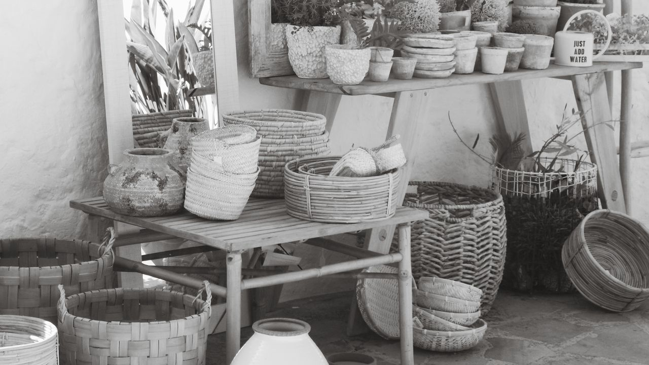 EyeEm Selects Basket Store Chair Travel Destinations Outdoors Day No People Market Place Market For Sale Large Group Of Objects Decoration Black & White Black And White Photography Handmade Handycrafts