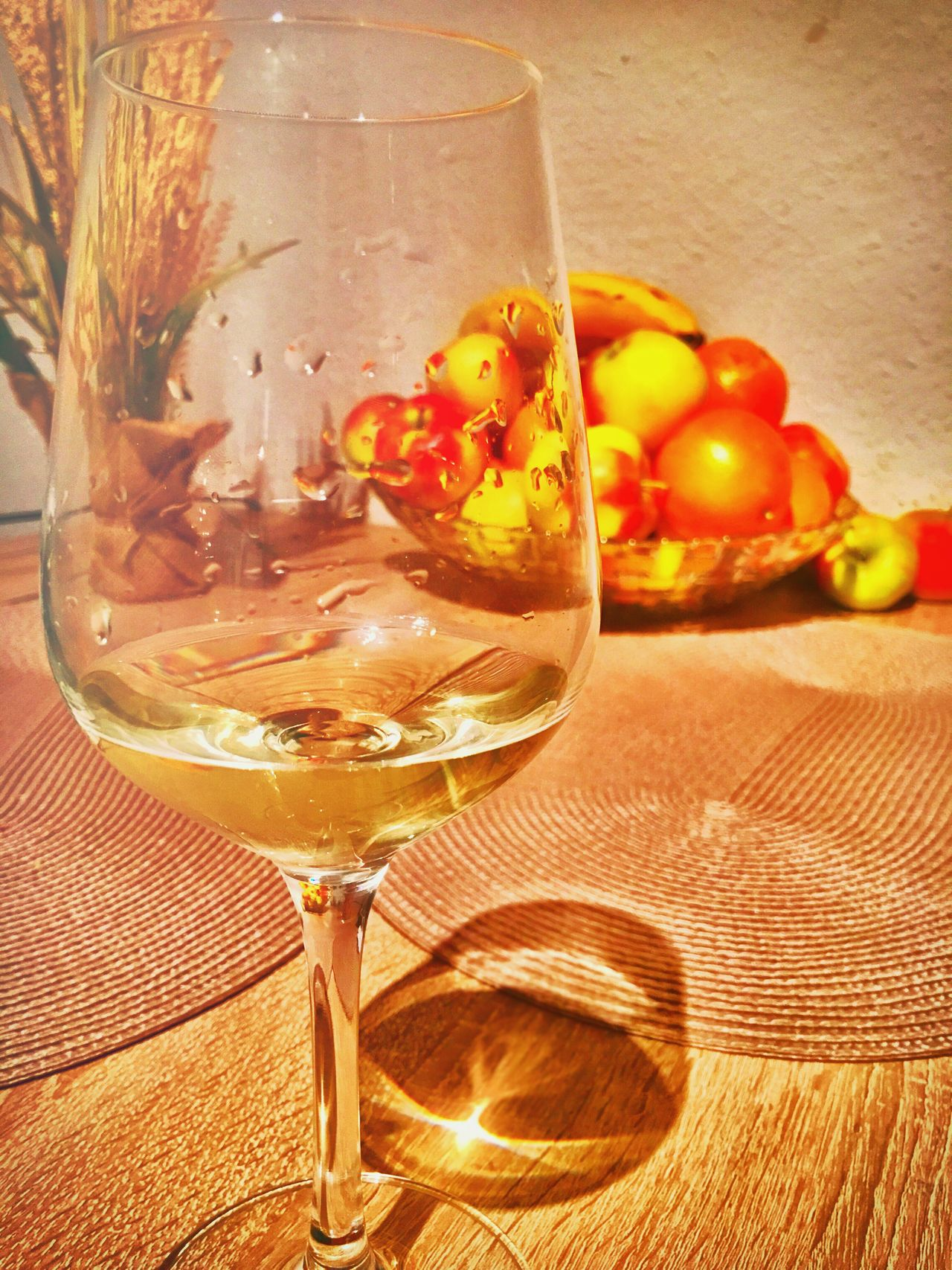 Wine Food And Drink Alcohol Table Wineglass Drinking Glass No People Close-up Indoors  Freshness Ready-to-eat Day Wine Tasting Whitewine Evening Apple Banana Germany Hagen Holiday Glass Orange Wall Tabletop Red