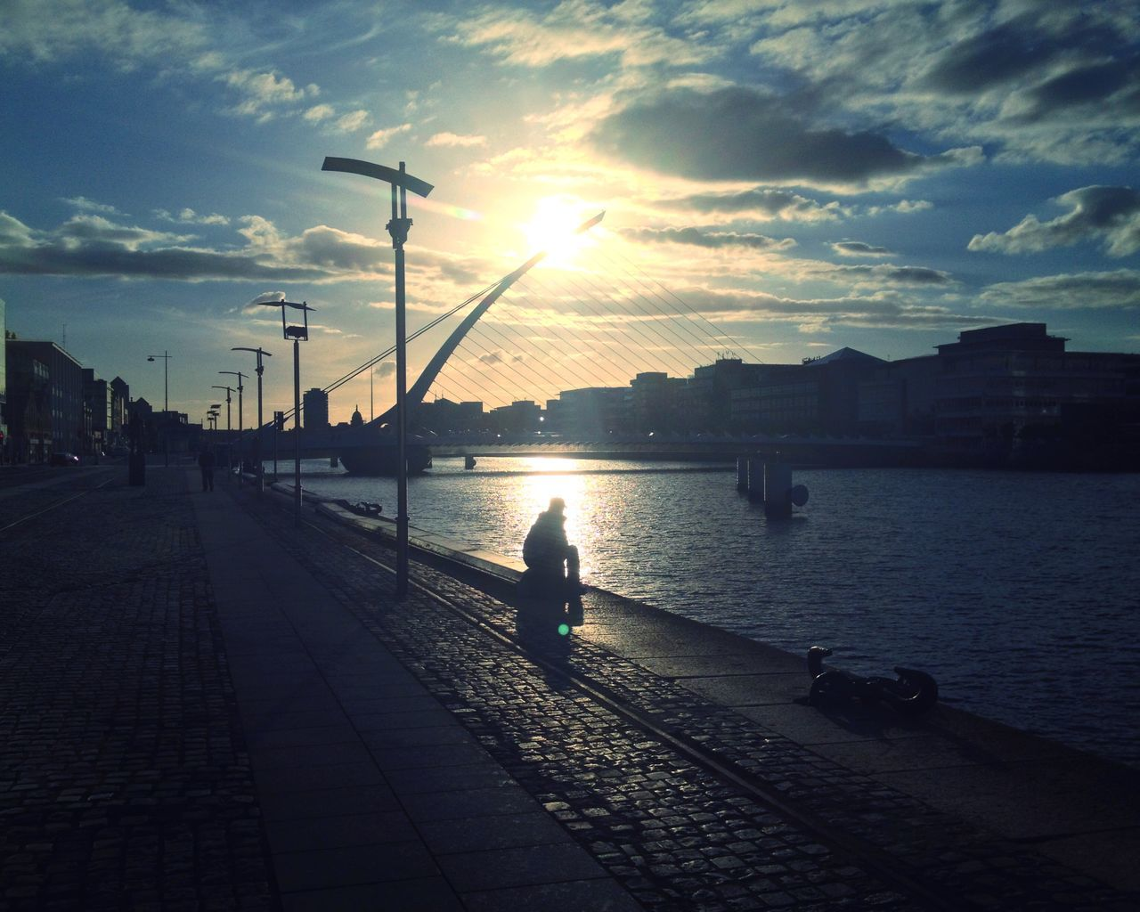 River Sunset Bridges Dublin Sittingonthedock Clouds Sky