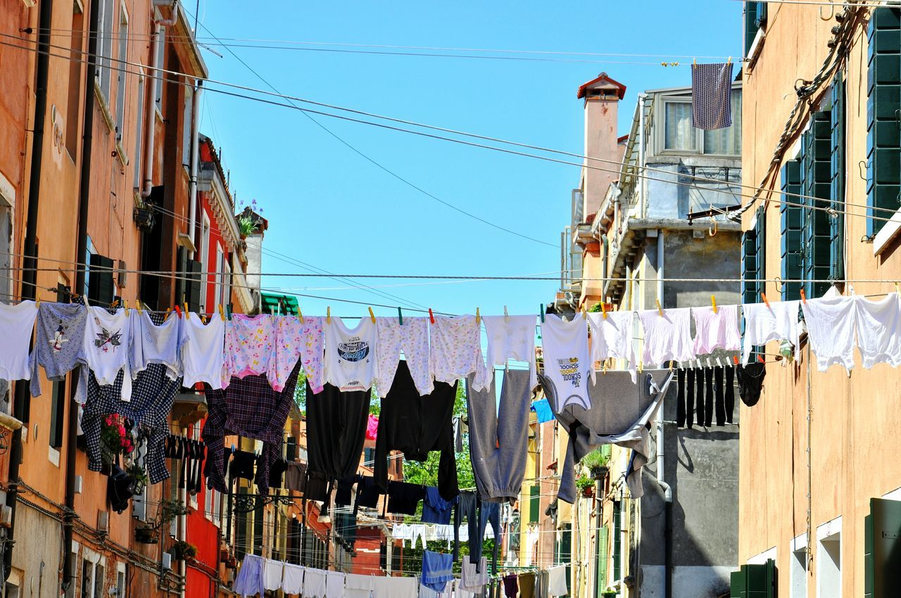 Laundry in Venice city Hanging Sky Outdoors Day Destination Typical Hanging Architecture Traditional Italy Clothes Travel Laundry Venice City Building Exterior