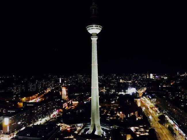 Berlin City Night Cityscape Tvstation Travel Destinations Tall - High