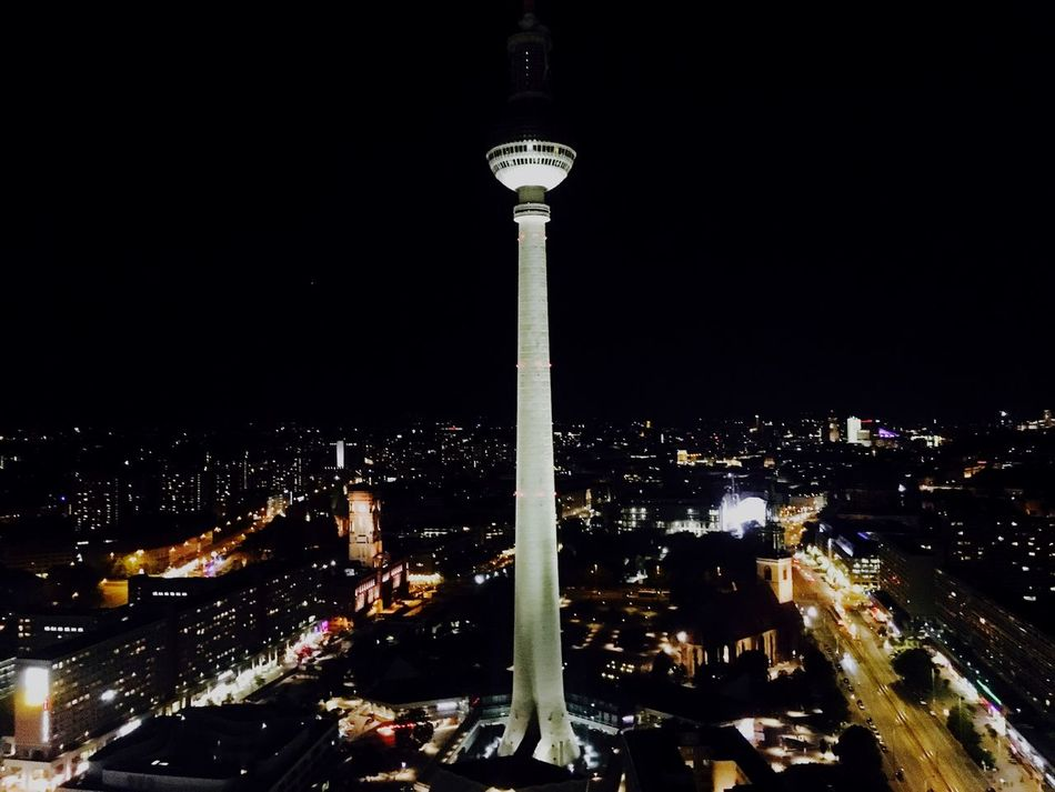 Berlin City Night Cityscape Tvstation Travel Destinations Tall - High