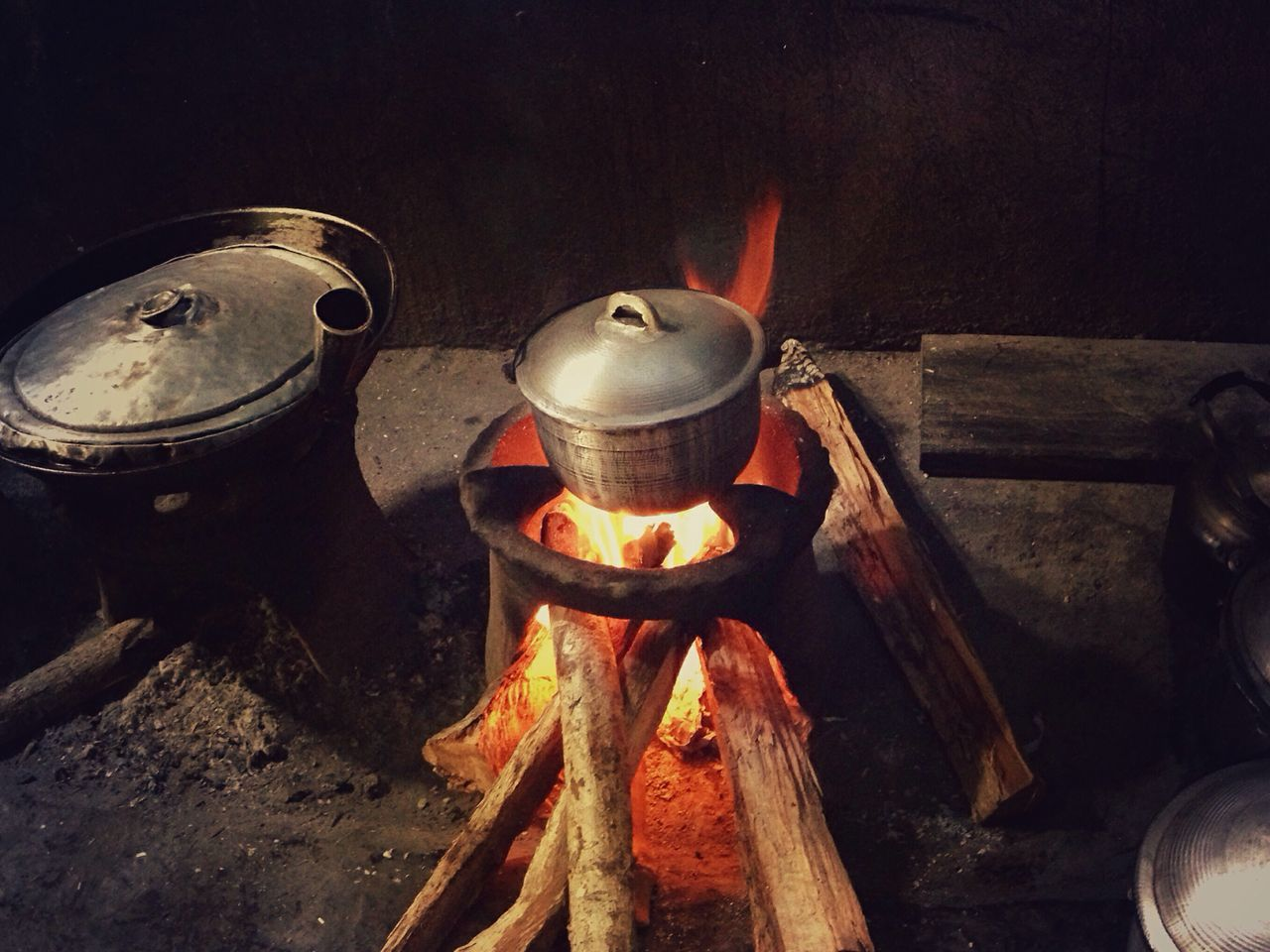 typical local Filipino kitchen Wood Dirty Kitchen Iron Casserole Burning Wood Fire Cooking Rice Kitchen Utensils life in the province Simple Living Simple Moment Lunch Time! Snapseed IPhone Photography