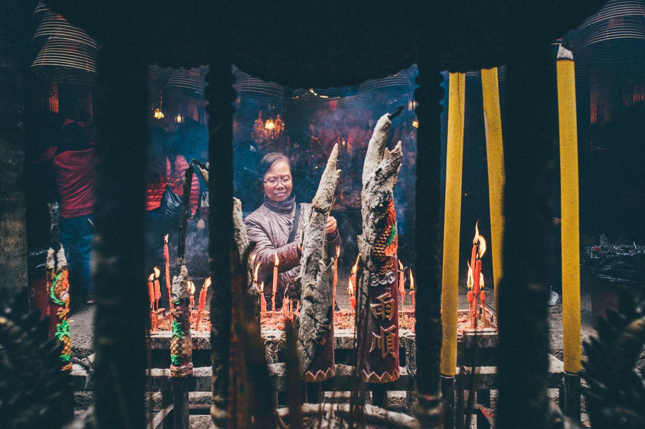 Adult Adults Only Arms Raised Chinese Chinese Culture Chinese New Year Culture Culture And Tradition Hong Kong Human Arm Human Body Part Illuminated Indoors  One Person Standing