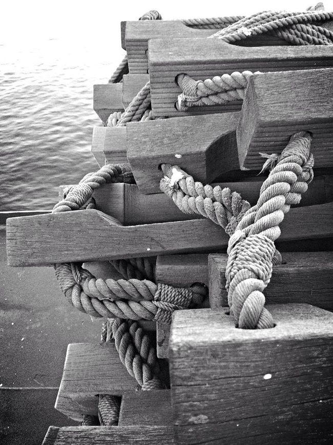 Rope Blackandwhite Photography Tied Ladder At Sea Knots And Grain