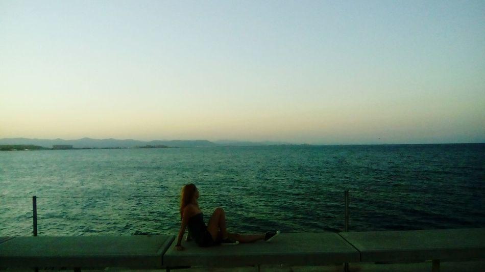 Sea Ocean Long Hair Girl Orizon Beauty Summer Valencia, Spain