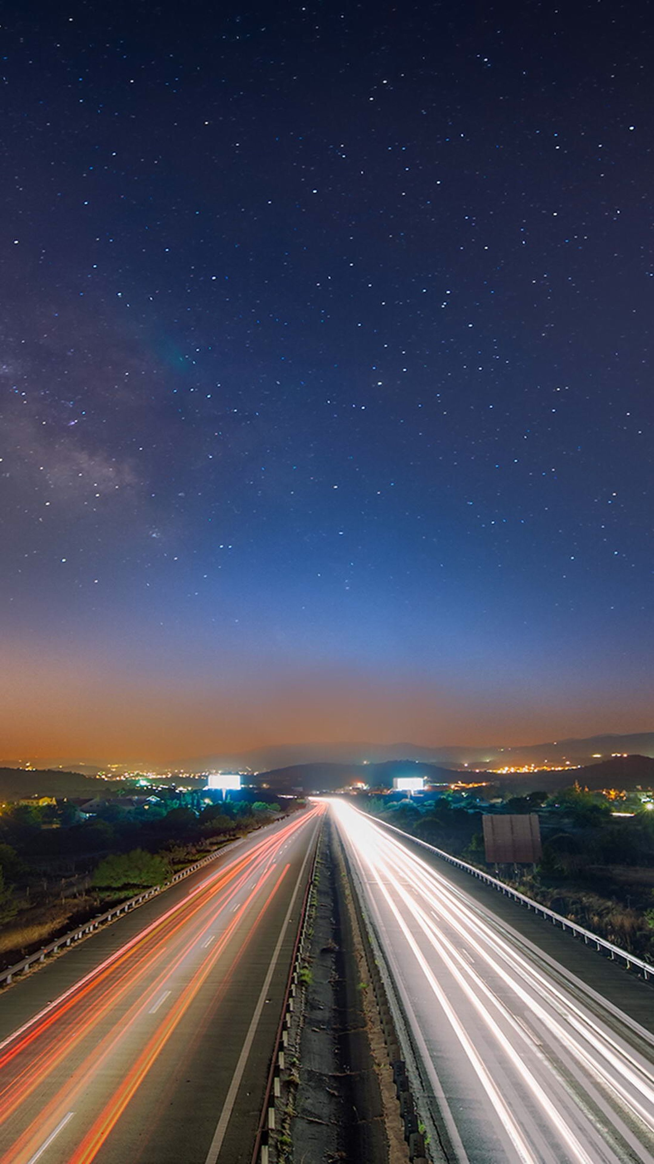 transportation, night, illuminated, road, the way forward, diminishing perspective, long exposure, highway, vanishing point, light trail, road marking, sky, infinity, motion, speed, landscape, scenics, no people, blurred motion, on the move