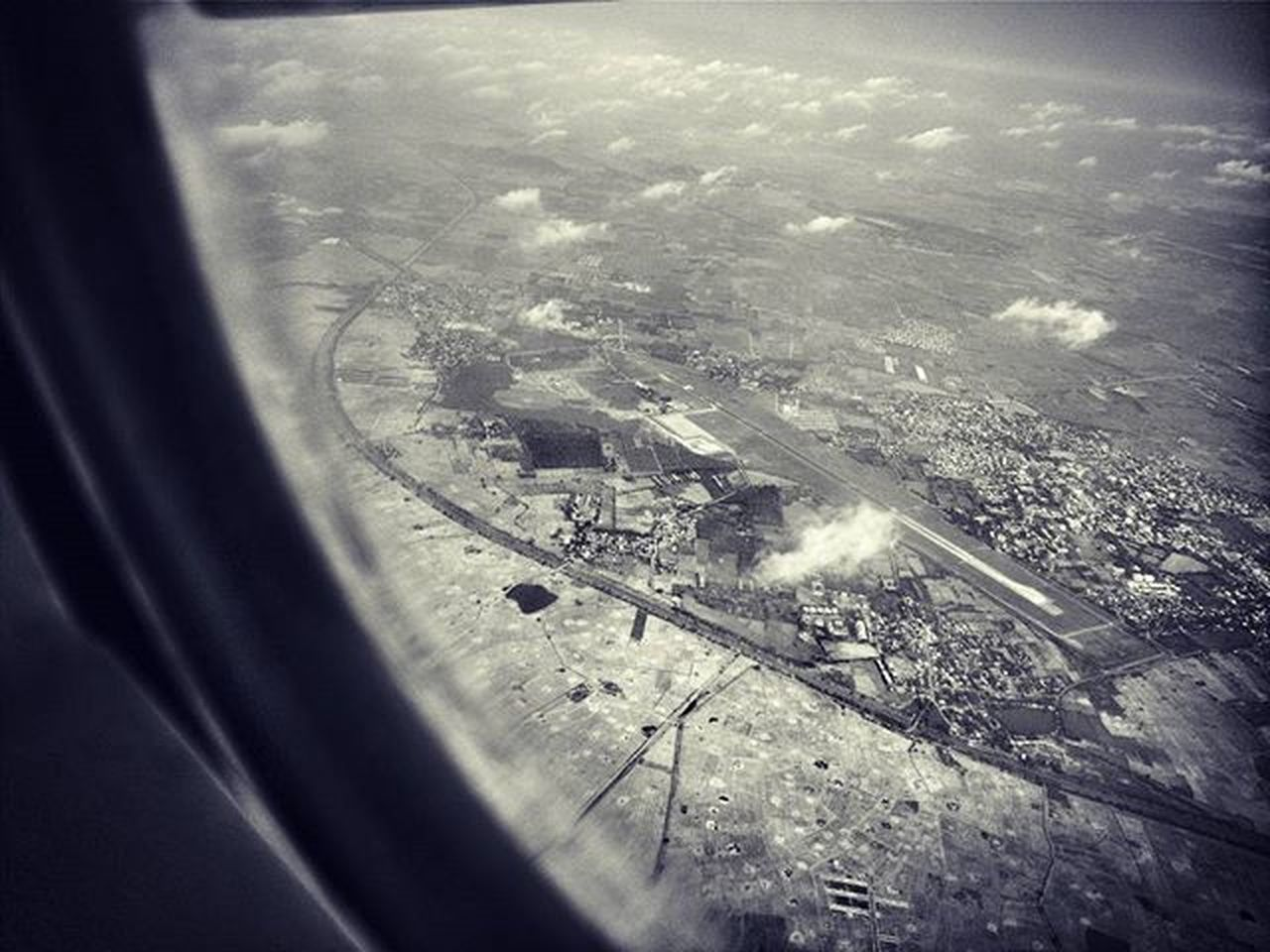 The higher angle to see the world.. Cabincrewlife Cabincrew Runway Clouds Blackandwhite Airbus319 Window Voscocam Vijaywada Awesome Fun Wehavethisthingforclouds Flying Traveldiaries Perspectives On Nature