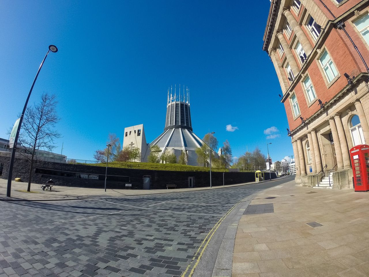 """Paddy's Wigwam"" Roman Catholic Metropolitan Cathedral In Liverpool...x Liverpool Cathedral Catholic Catholic Church Church Metropolitan Road Street Streetphotography Phonebooth Phonebox First Eyeem Photo Blue Sky Itsliverpool Visitliverpool Christ The King Liverpool Cathedral Merseyside Architecture Religion Religious  Religious Architecture"