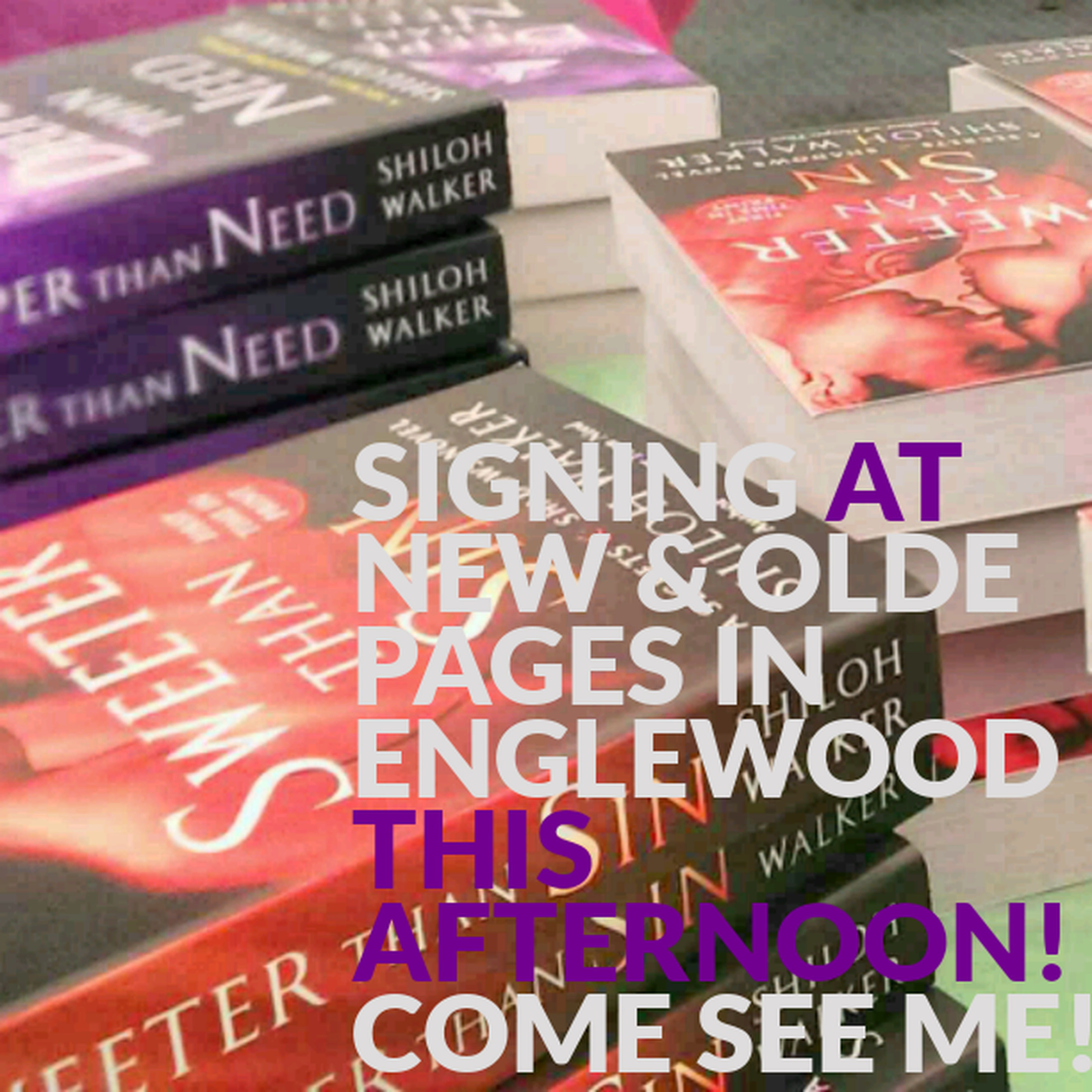signing at New & Olde Pages in Englewood this afternoon! come see me!