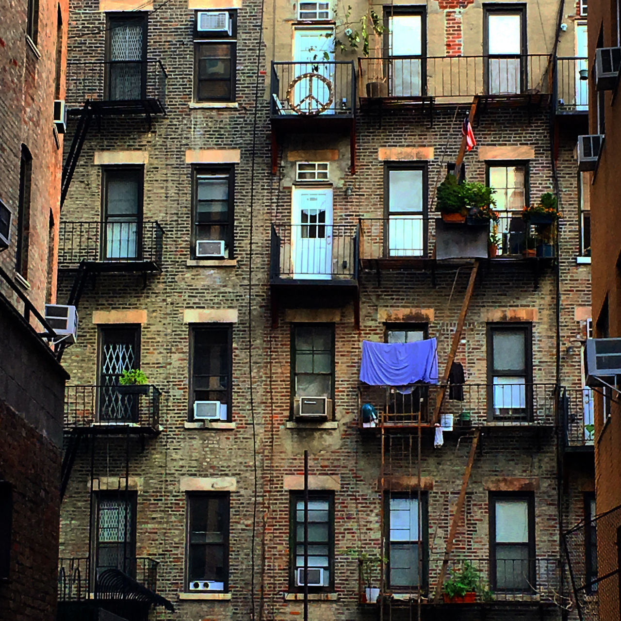 Little Italy Air Conditioner Architecture Balcony Building Exterior Built Structure City Day Little Italy NYC Low Angle View No People Outdoors Residential Building Window