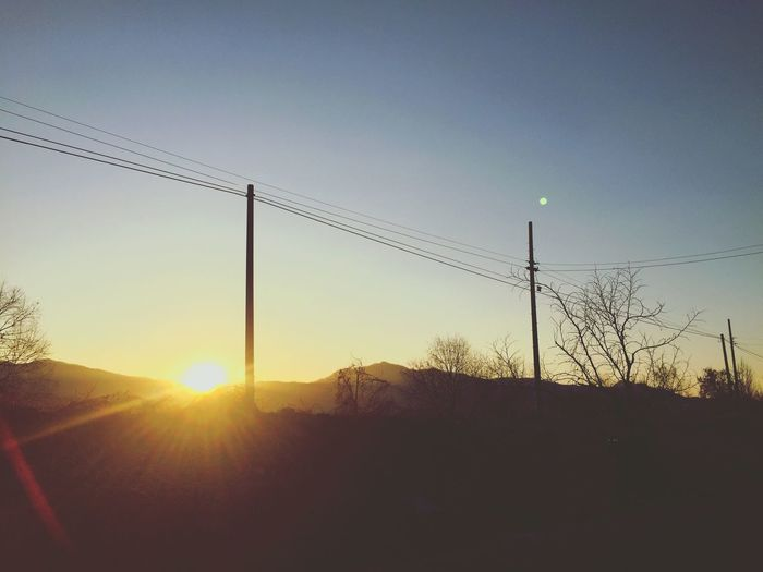 Electricity  Cable Connection Power Line  Power Supply Sunset Sun