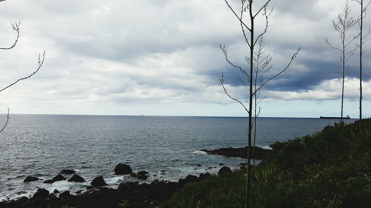 Vacations Coastline Cloud - Sky Beauty In Nature Water Sea Sky No People Tree Nature Reserve Travel Destinations Shiplife Tranquil Scene Dramatic Sky The Great Outdoors - 2017 EyeEm Awards