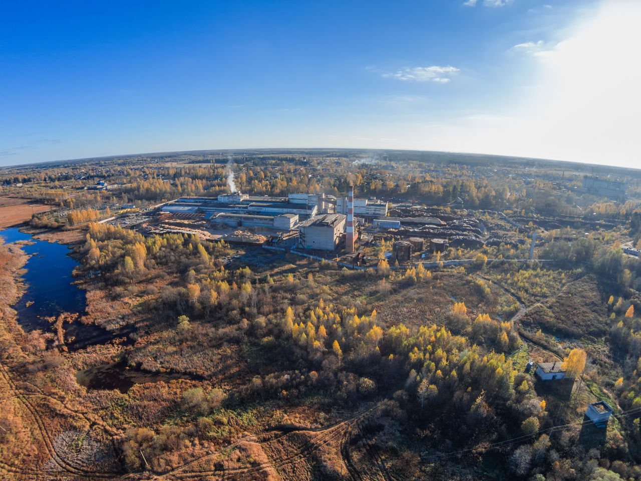 Aerial view of the factory and the village Maksatikha A Bird's Eye View Aerial Aerial View Business Finance And Industry City Cityscape Factory Growth No People Outdoors Rural Sky Top Perspective Tree Urban Skyline