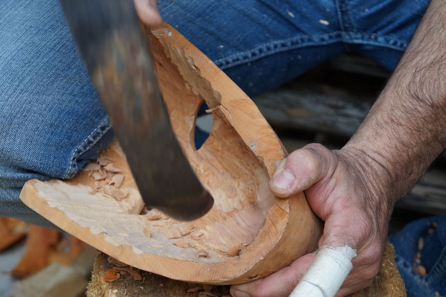 EyeEmNewHere Adult Adults Only Carving - Craft Activity Close-up Craftsperson Day Hand Tool Human Body Part Human Hand Instrument Maker Mask Men Occupation One Man Only One Person Only Men Outdoors People Skill  Wood - Material Work Tool Working Workshop