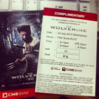 Wolverine complimentry passes. 24/July/2013. TGV Klcc. 830PM.