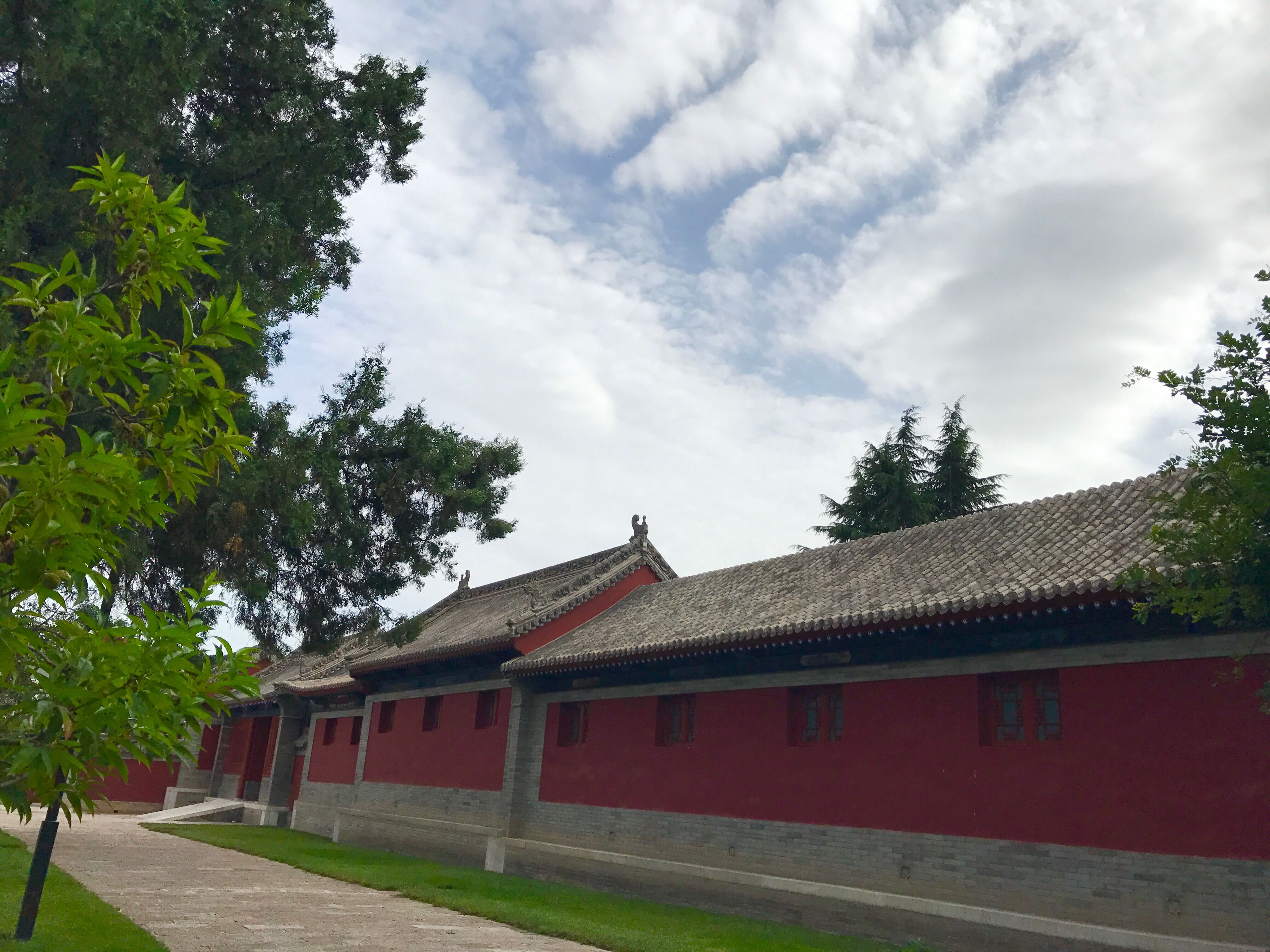 built structure, sky, cloud - sky, architecture, building exterior, tree, house, day, outdoors, no people, red, roof, nature