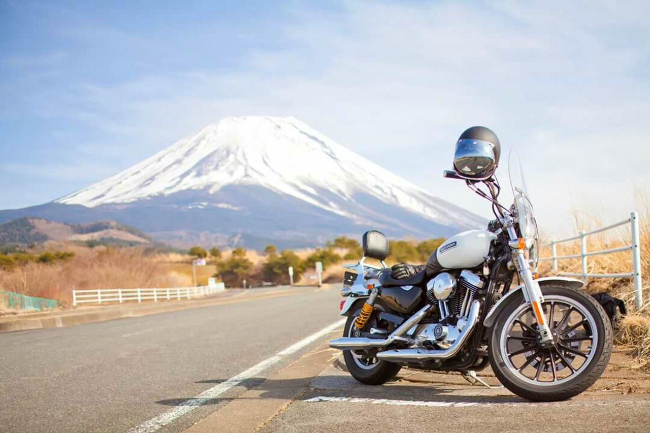 Harley Davidson 1200cc Xl1200c Mountains Road Touring Motorcycle Landscape With Whitewall Landscape Nature White Japan Sky Snow Snow Covered Mountain Here Belongs To Me Things I Like The Great Outdoors - 2016 EyeEm Awards