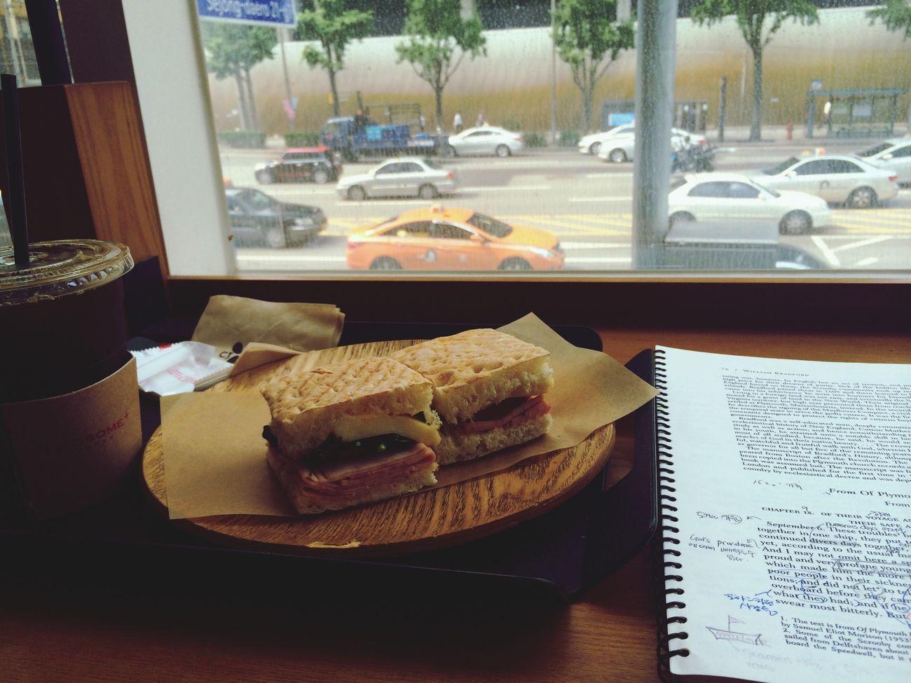 "finally!!! study for the ""last"" exam!!! with Focaccia & Caffè Americano"