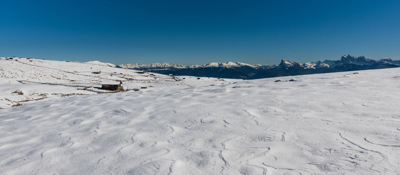 nature, tranquility, snow, tranquil scene, cold temperature, beauty in nature, winter, scenics, outdoors, mountain, no people, day, clear sky, blue, landscape, snowcapped mountain, mountain range, sky